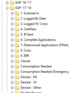 CAP energy assistance folder structure
